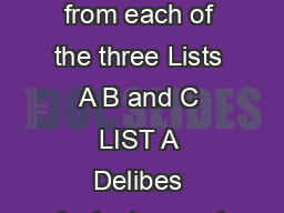 Clarinet GRADE  THREE PIECES one chosen by the candidate from each of the three Lists A B and C LIST A Delibes Andante quasi allegretto Lefvre Allegro moderato st movt from Sonata No