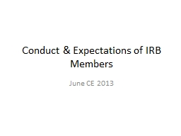 Conduct & Expectations of IRB Members
