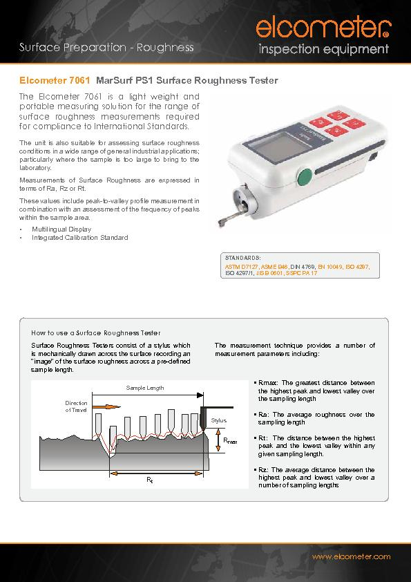 MarSurf PS1 Surface Roughness TesterThe Elcometer 7061 is a light weig