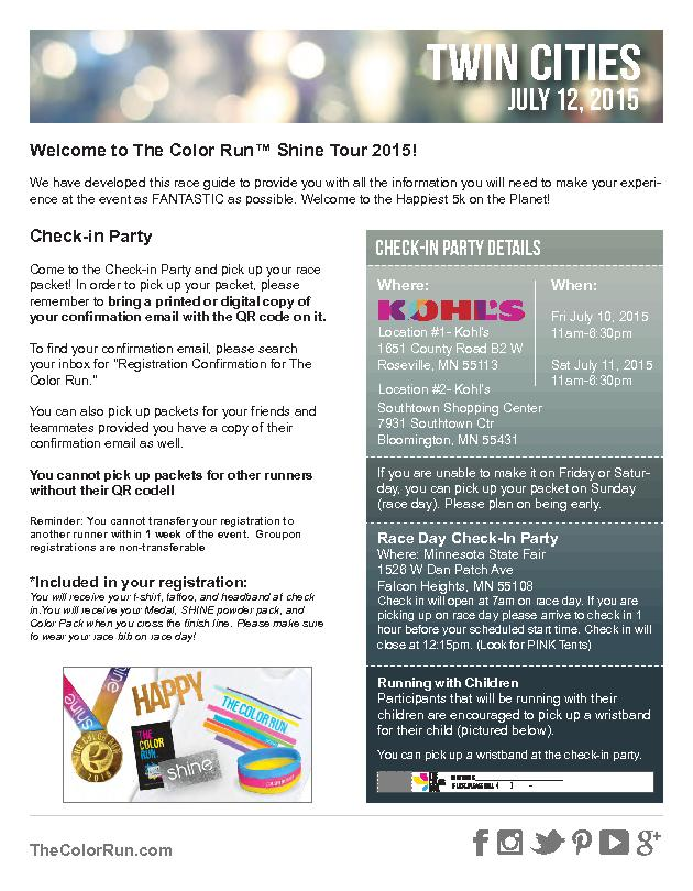July 12, 2015Welcome to The Color Run™ Shine Tour 2015!We have de