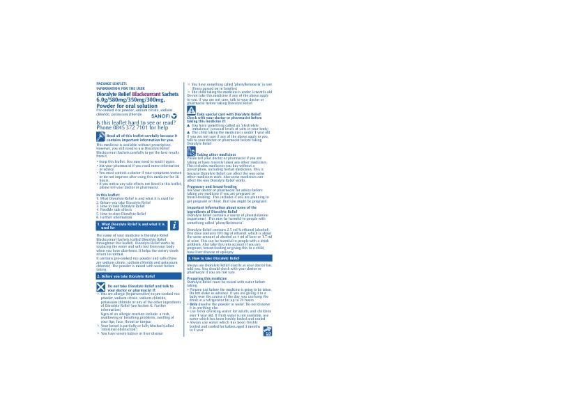 PACKAGE LEAFLET:INFORMATION FOR THE USERDioralyte Relief Blackcurrant6