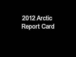 2012 Arctic Report Card PowerPoint PPT Presentation