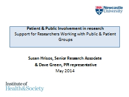 Patient & Public Involvement in research