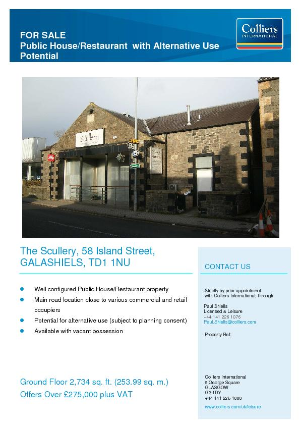 FOR SALE Public House/Restaurant  with Alternative Use Potential   ...