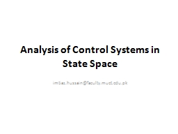 Analysis of Control Systems in State Space PowerPoint PPT Presentation