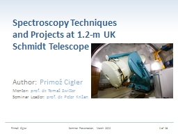 Spectroscopy Techniques and Projects at
