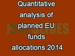 Quantitative analysis of planned EU funds allocations 2014