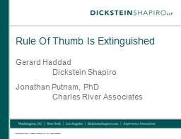 Rule Of Thumb Is Extinguished PowerPoint PPT Presentation