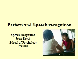 1 Pattern and Speech recognition