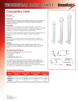 TECHNICAL DATA SHEET February  Product Concentric Vent General The Concentric Vent allows both the intake for combustion air and the exhaust vent to pass through a standard roof or sidewall