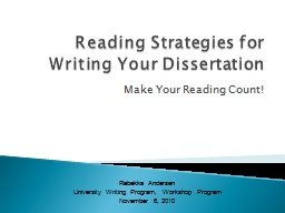 Reading Strategies for    Writing Your Dissertation