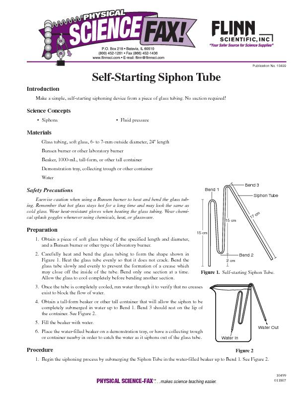 Publication No. 10499Self-Starting Siphon TubeIntroductionMake a simpl
