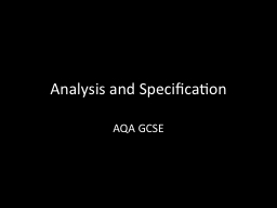 Analysis and Specification
