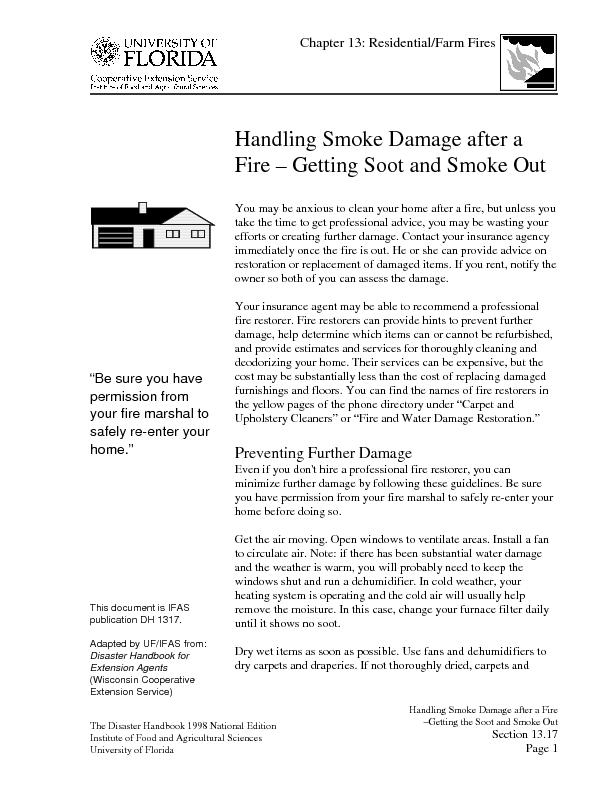 Handling Smoke Damage after a Fire–Getting the Soot and Smoke Out