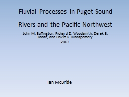 Fluvial Processes in Puget Sound