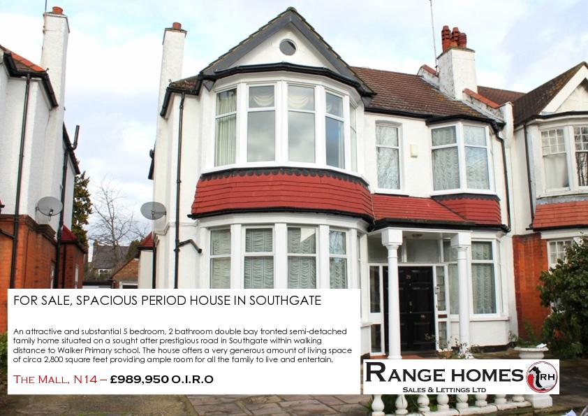 FOR SALE, SPACIOUS PERIOD HOUSE IN SOUTHGATE