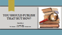 YOU SHOULD PUBLISH THAT! BUT How?