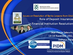 Issues on Resolution of Banks: Lessons from Crisis PowerPoint PPT Presentation