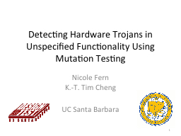 Detecting Hardware Trojans in Unspecified Functionality Usi