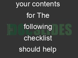 Home Contents Checklist Not sure what you would insure your contents for The following checklist should help Go into each room and complete this simple checklist PowerPoint PPT Presentation