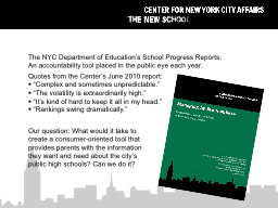 The NYC Department of Education's School Progress Reports