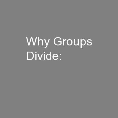 Why Groups Divide: