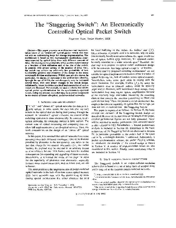 """The """"Staggering Switch"""": Controlled Optical paper presents t PowerPoint PPT Presentation"""