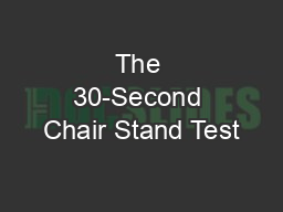 The 30-Second Chair Stand Test