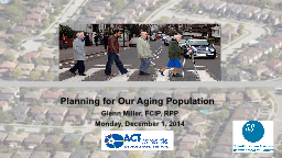 Planning for Our Aging Population