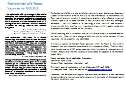 Residential Life Team PowerPoint PPT Presentation
