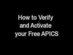 How to Verify and Activate your Free APICS