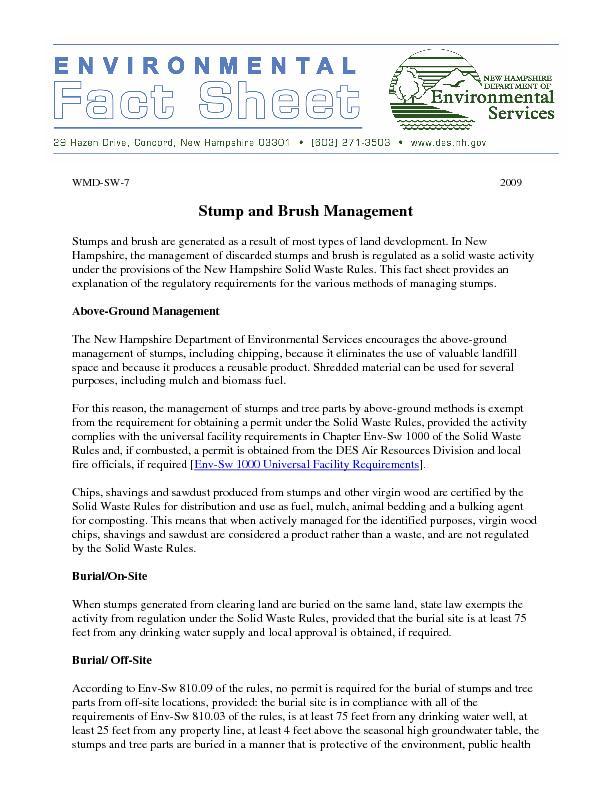 Stump and Brush Management
