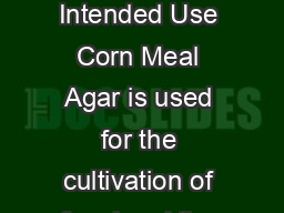 PI Rev  February  CORN MEAL AGAR  Intended Use Corn Meal Agar is used for the cultivation of fungi and the demonstration of chlamydospore production