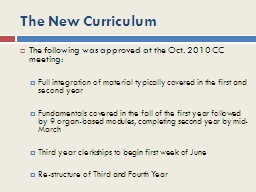 The New Curriculum PowerPoint PPT Presentation