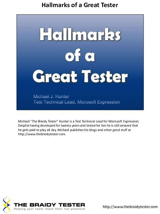 Hallmarks of a Great Tester