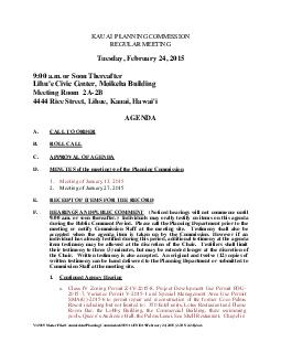 KAUAI  PLANNING COMMISSIONREGULAR MEETINGTuesday, February 24, 20159:0