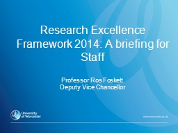 Research Excellence Framework 2014: A briefing for Staff