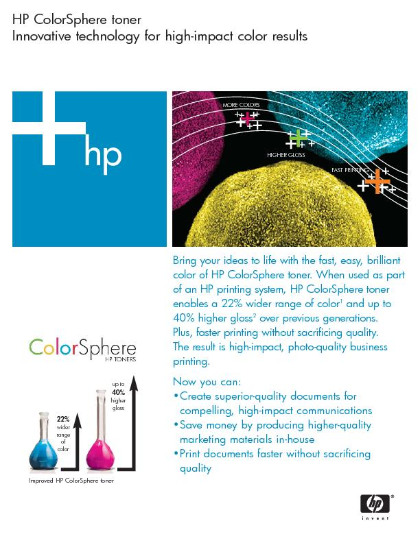 HP ColorSphere tonerInnovative technology for high-impact color result