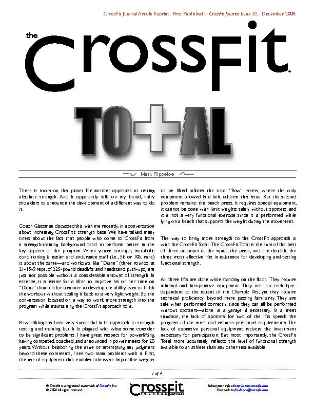 CrossFit Journal Article Reprint.  First Published in