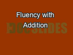 Fluency with Addition & Subtraction