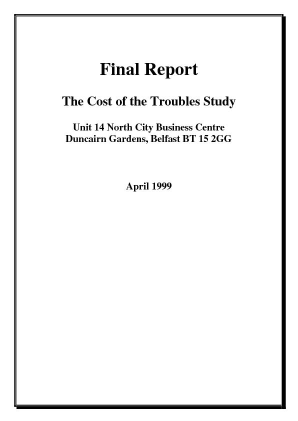 Cost of the Troubles Study - How is Cost of the Troubles ...