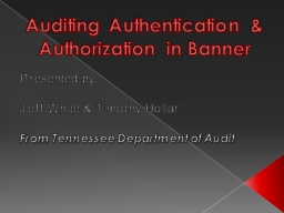 Auditing Authentication & Authorization in Banner