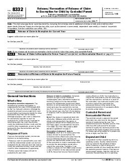 ReleaseRevocation of Release of Claim to Exemption for Child by Custodial Parent Form  Rev