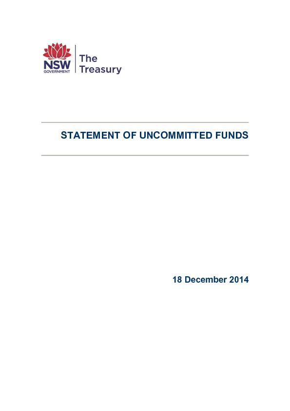 STATEMENT OF UNCOMMITTED FUNDS