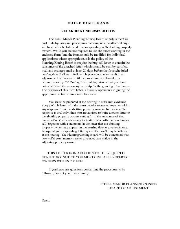 NOTICE TO APPLICANTS                        REGARDING UNDERSIZED LOTST