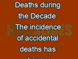 CHAPTER   ACCIDENTAL DEATHS IN INDIA Incidence and Rate of Accidental Deaths during the Decade  The incidence of accidental deaths has shown a increasing trend during the decade   with an increase o