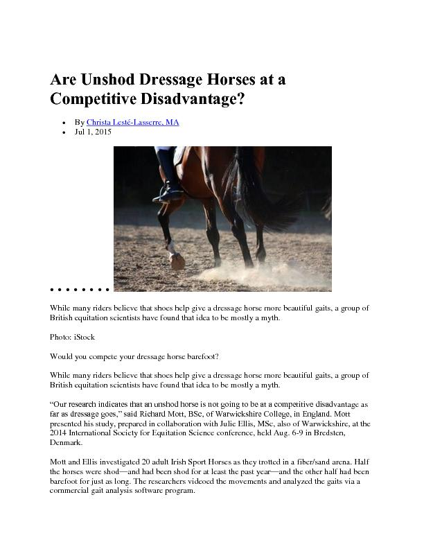 Are Unshod Dressage Horses at a