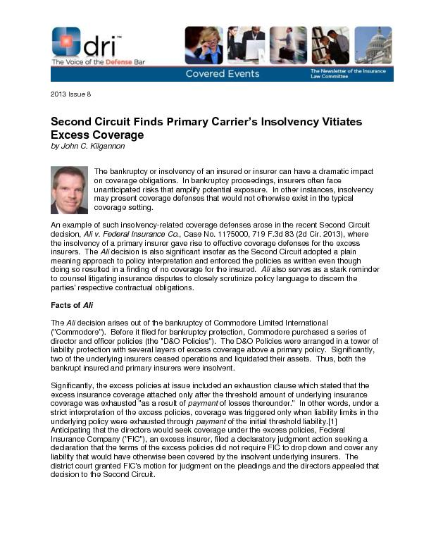 Second Circuit Finds Primary Carrier's Insolvency Vitiates  ...