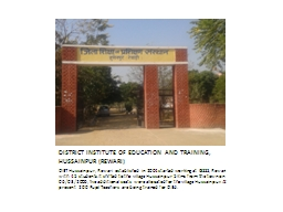DISTRICT INSTITUTE OF EDUCATION AND TRAINING, HUSSAINPUR (R