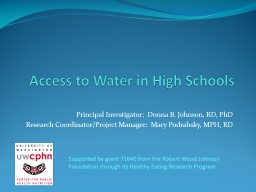 Access to Water in High Schools